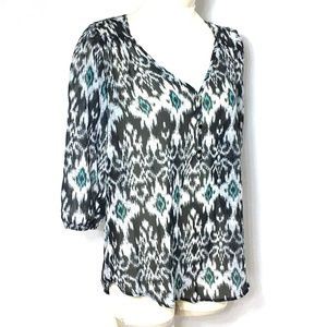 Living Doll Top Tunic Blouse Black White Blue M